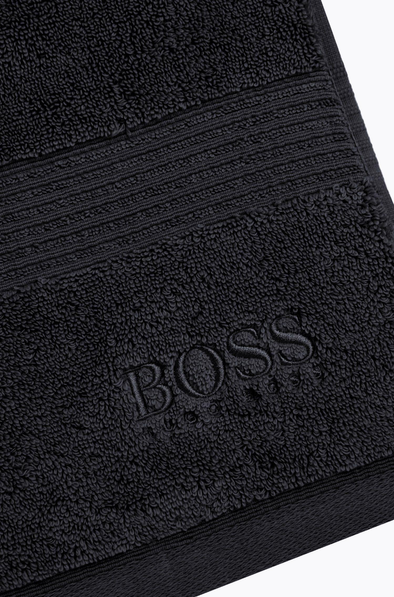 Handdoek van gekamde Egeïsche katoen met geribde rand, Zwart