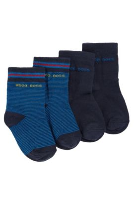 Paquete doble de calcetines para niños en mezcla de algodón elástico: 'J00077', Azul oscuro