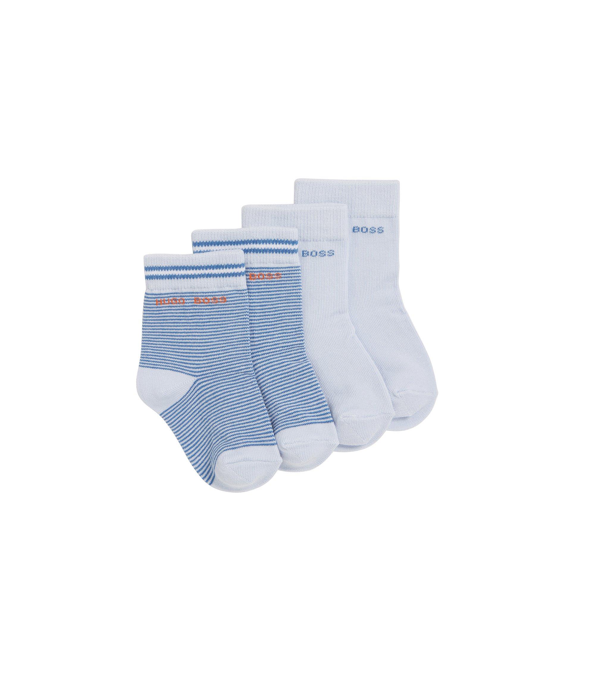 Chaussettes pour enfant en coton mélangé extensible, en lot de 2: «J00077», Bleu vif