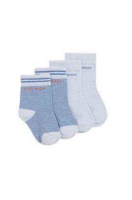 Kids-Socken aus elastischem Baumwoll-Mix im Zweier-Pack: 'J00077', Hellblau