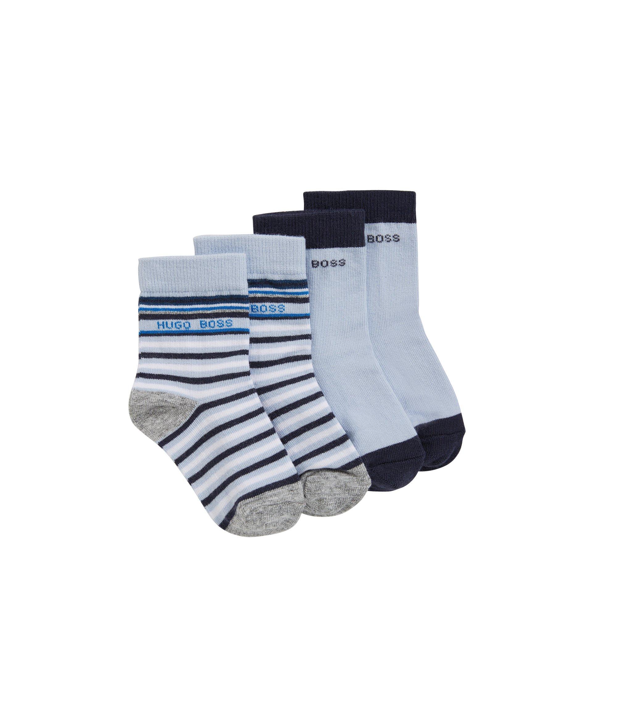 Baby-Socken aus elastischem Baumwoll-Mix im Zweier-Pack: 'J00078', Hellblau