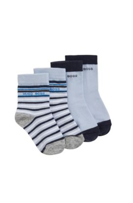 Baby socks in stretch cotton blend in a double pack: 'J00078', Light Blue