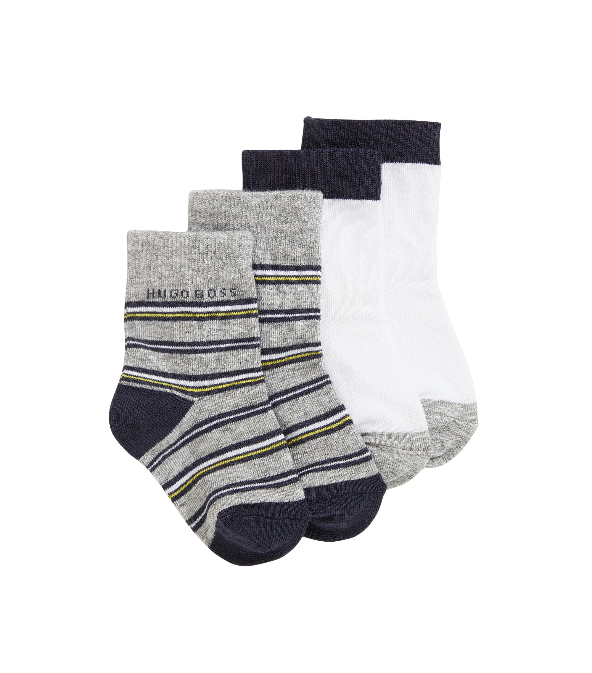 Kids' two-pack of socks in stretch cotton-blend jacquard, Patterned