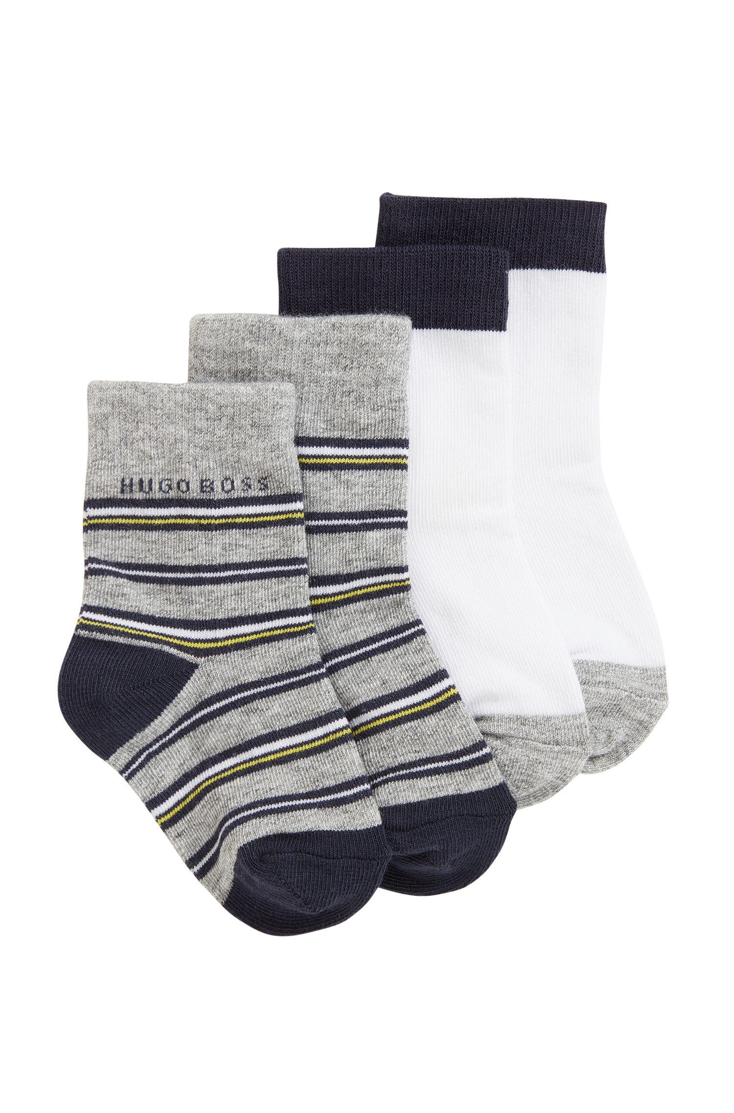 Lot de deux paires de chaussettes pour enfant en jacquard de coton stretch mélangé, Fantaisie