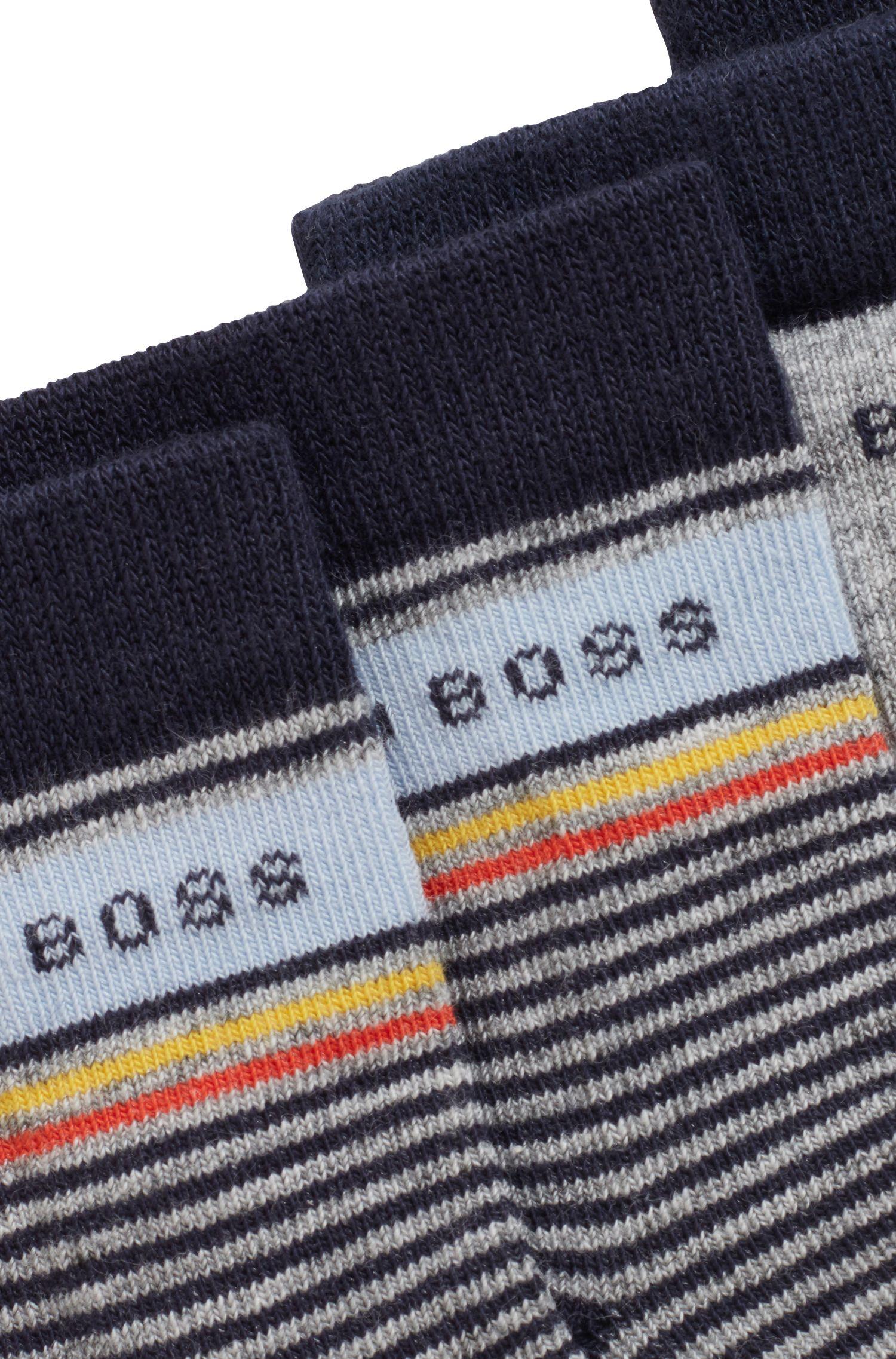 Lot de deux paires de chaussettes pour enfant, en coton stretch mélangé, Gris chiné
