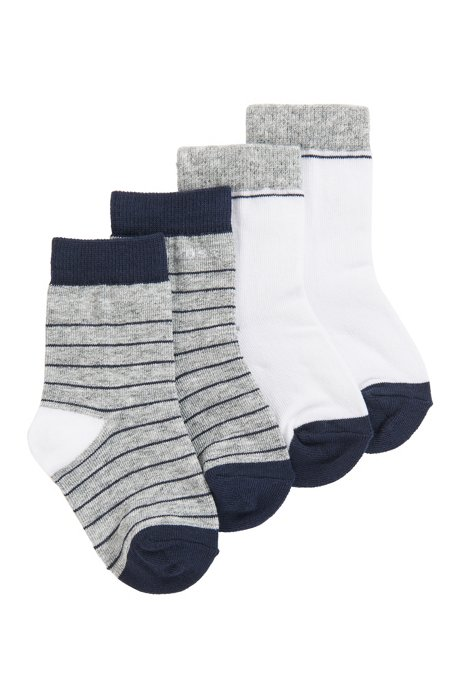 Kids' two-pack socks with jacquard-woven logos, Patterned