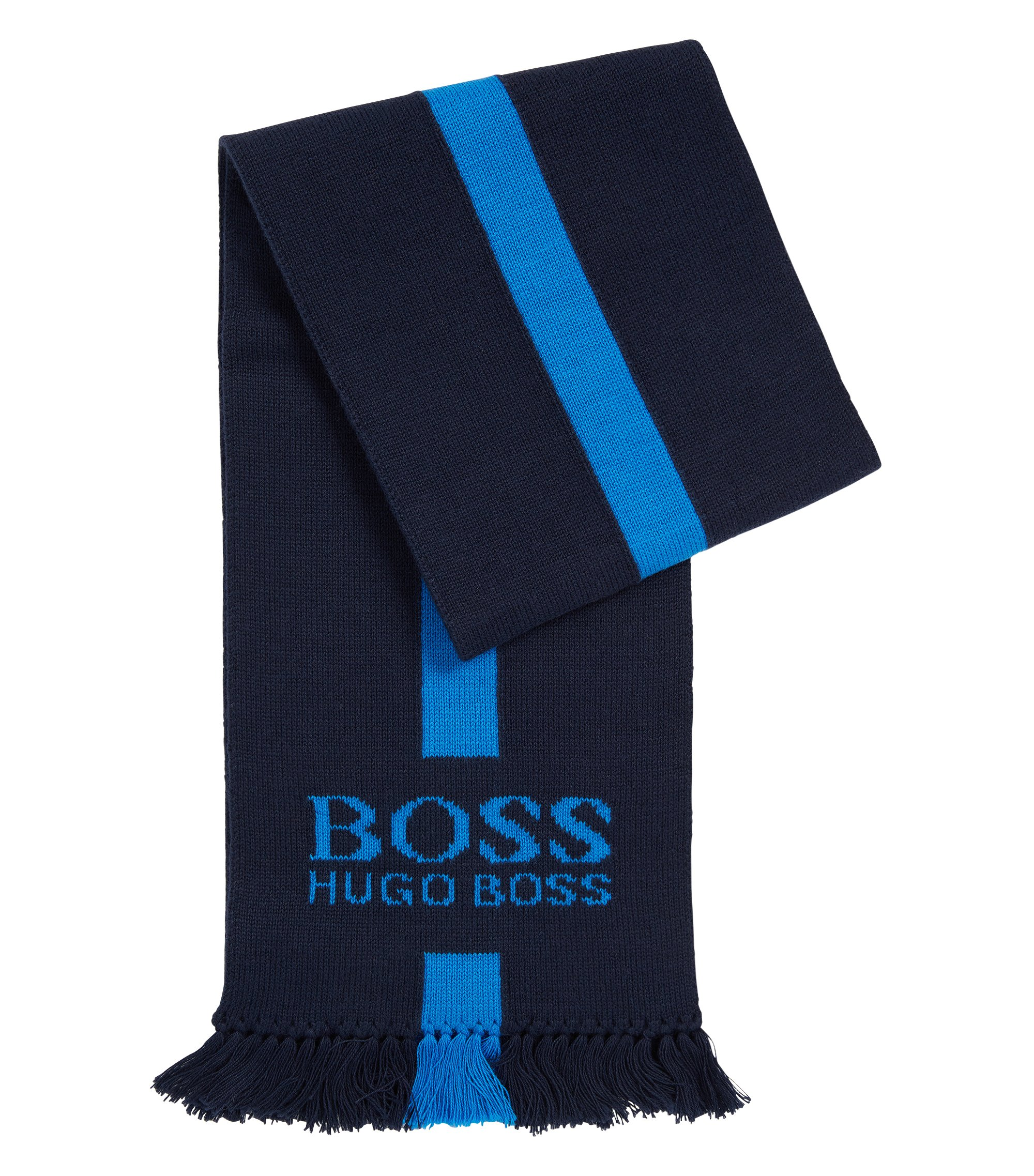 Kid's scarf in cotton with contrasting colour stripe: 'J01079', Dark Blue