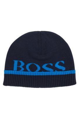 Bonnet pour enfant en coton chiné: «J01080», Bleu foncé