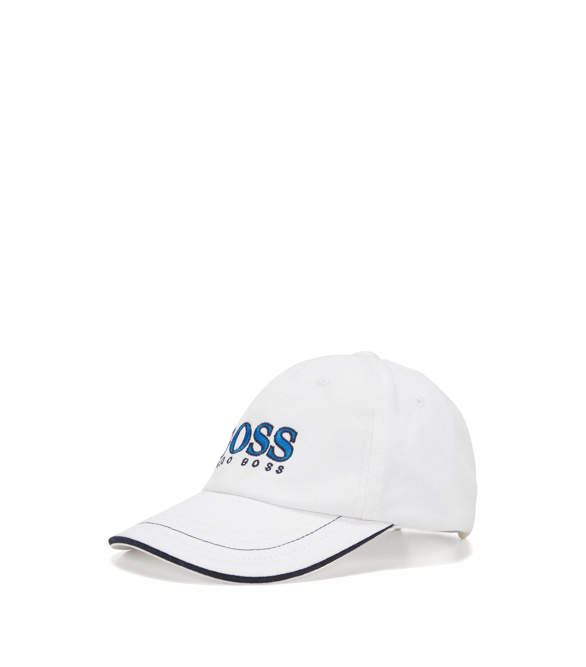 Gorra para niño en algodón con logo grande: 'J01083', Blanco