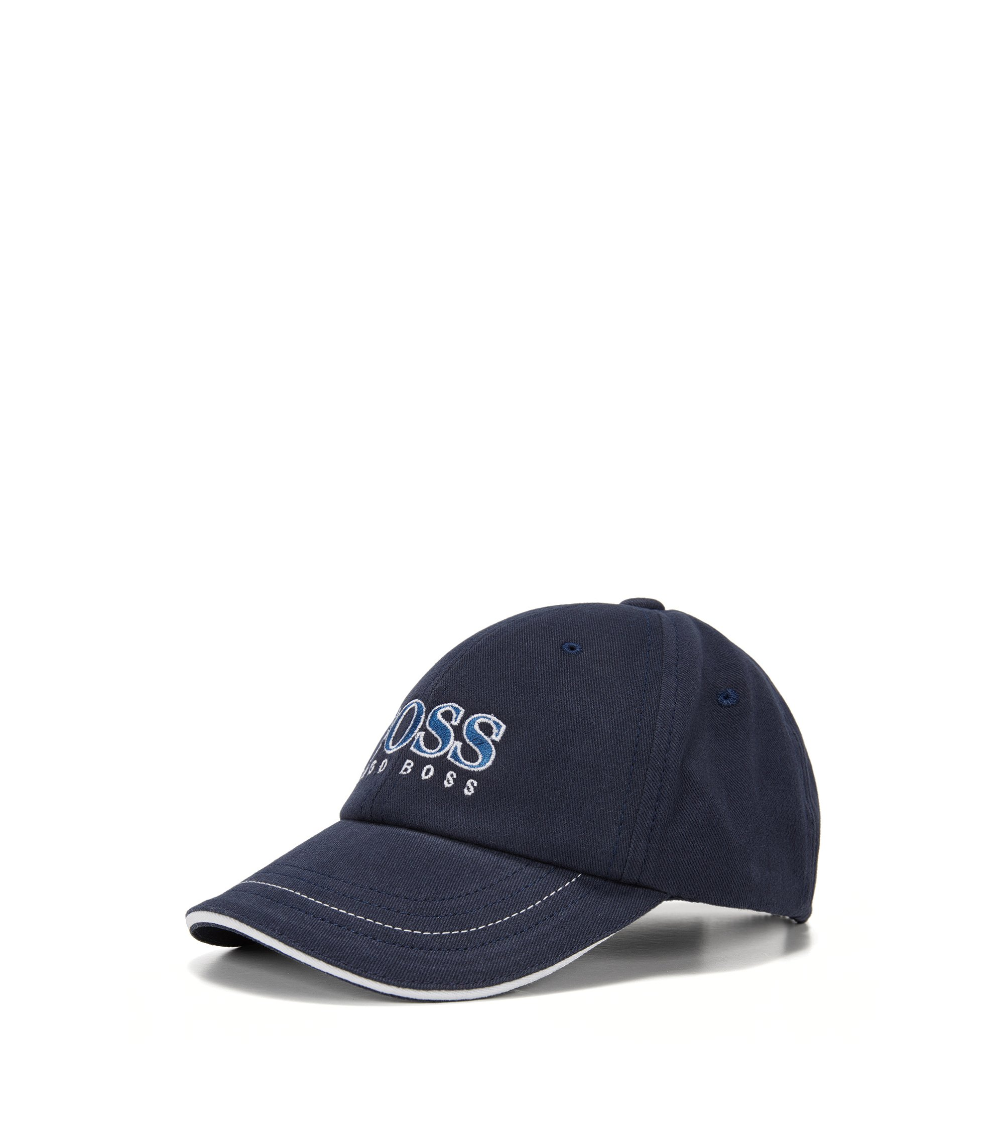 Kids' cap in cotton with large logo: 'J01083', Dark Blue