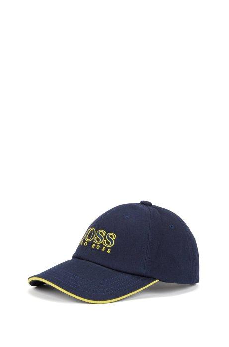 Gorra de béisbol en sarga de algodón con logo bordado para niños, Azul oscuro