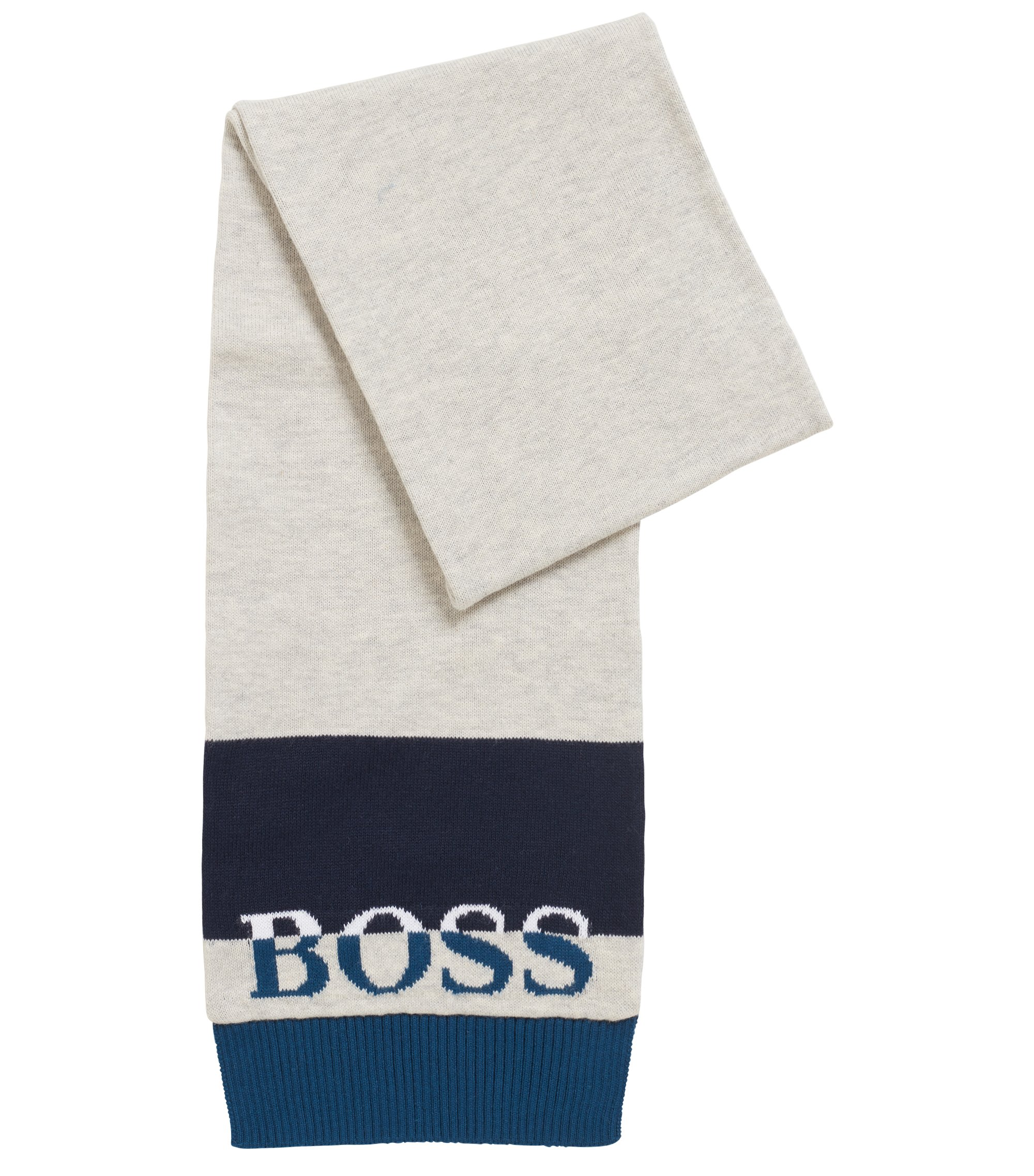 Kids' scarf in combed-cotton jersey with logo jaqcuard, Dark Blue