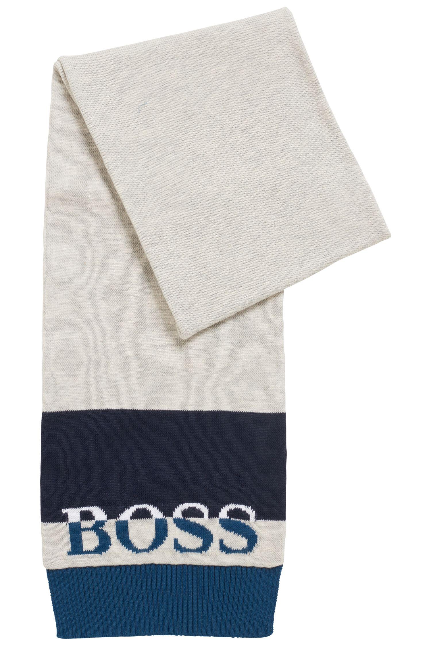 Écharpe pour enfant en maille jersey de coton peigné à logo jacquard, Bleu foncé