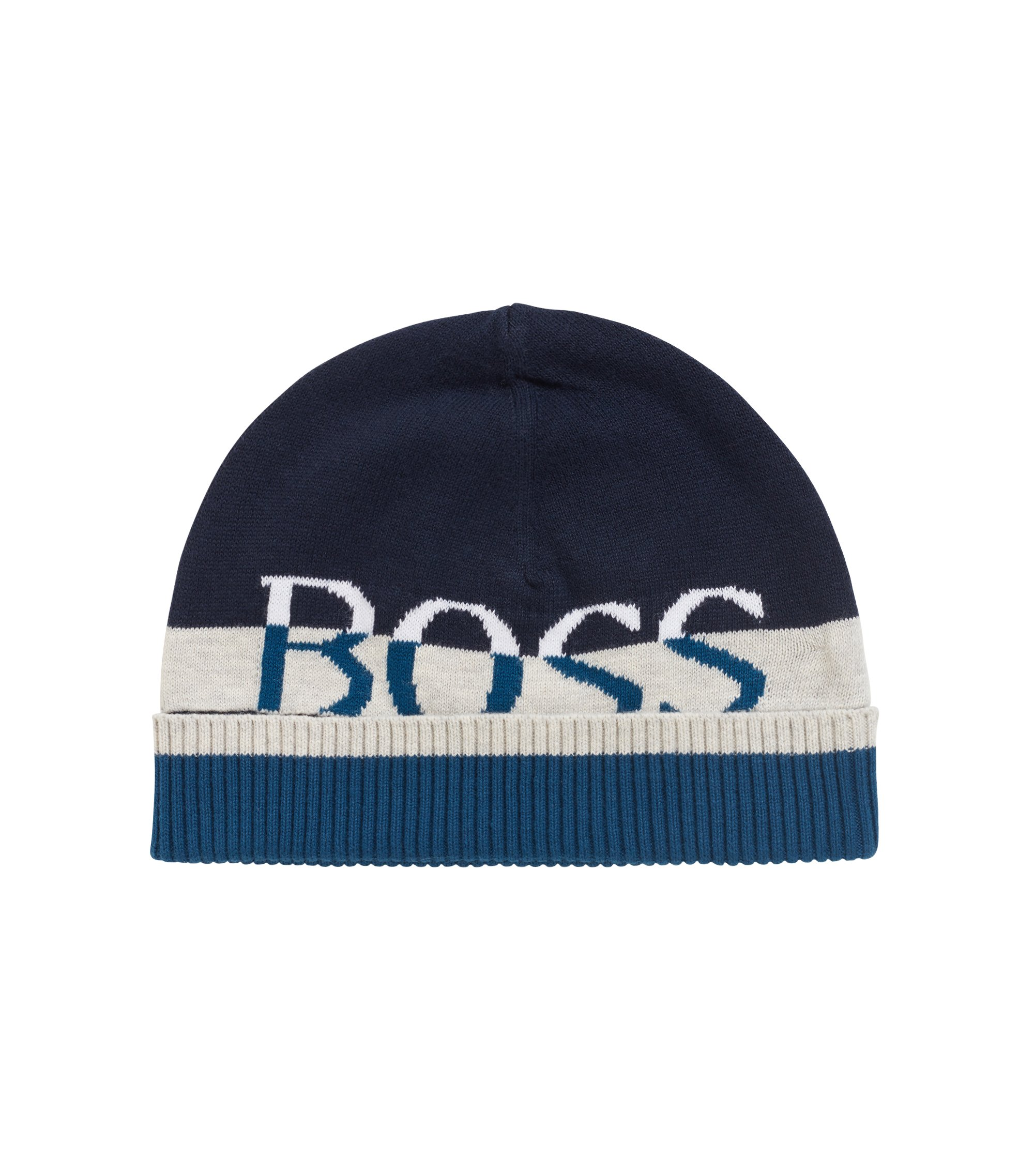 Kids' combed-cotton beanie hat with logo jaquard, Dark Blue