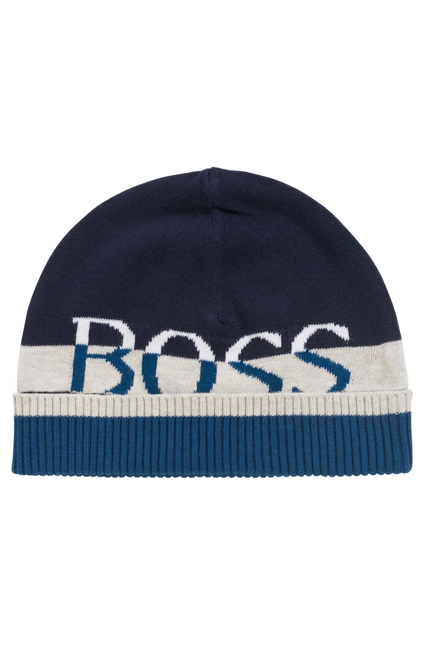 Bonnet pour enfant en coton peigné à logo jacquard, Bleu foncé