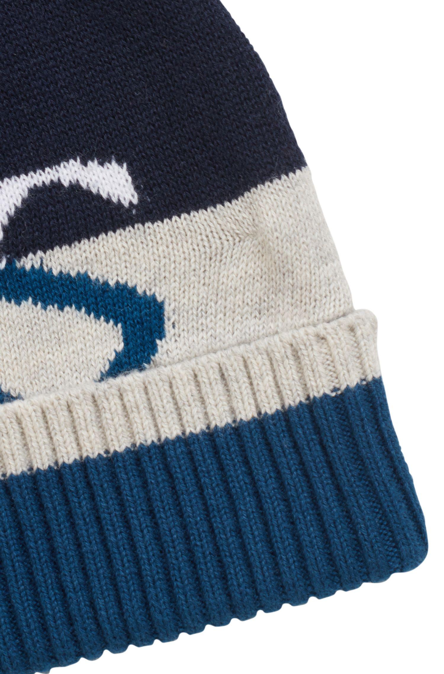 Zuccotto da bambino in cotone pettinato con logo jacquard, Blu scuro