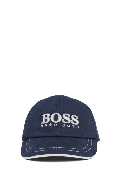 Kids' cap in cotton twill with logo embroidery, Dark Blue