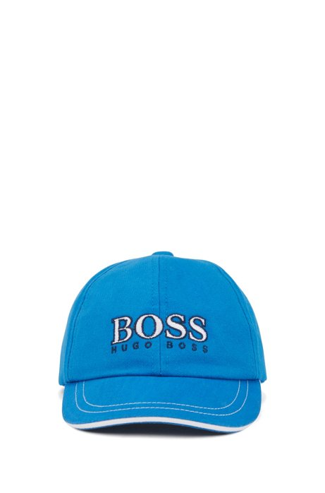 Kids' cap in cotton twill with logo embroidery, Blue