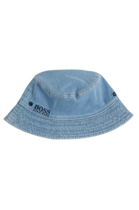 Kids' denim bucket hat with logo embroidery, Patterned