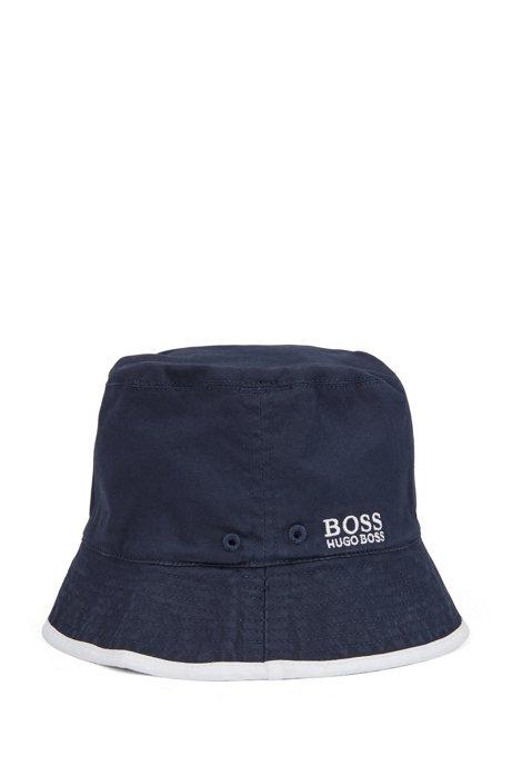 Bob réversible à logo pour enfant, en coton stretch, Bleu foncé