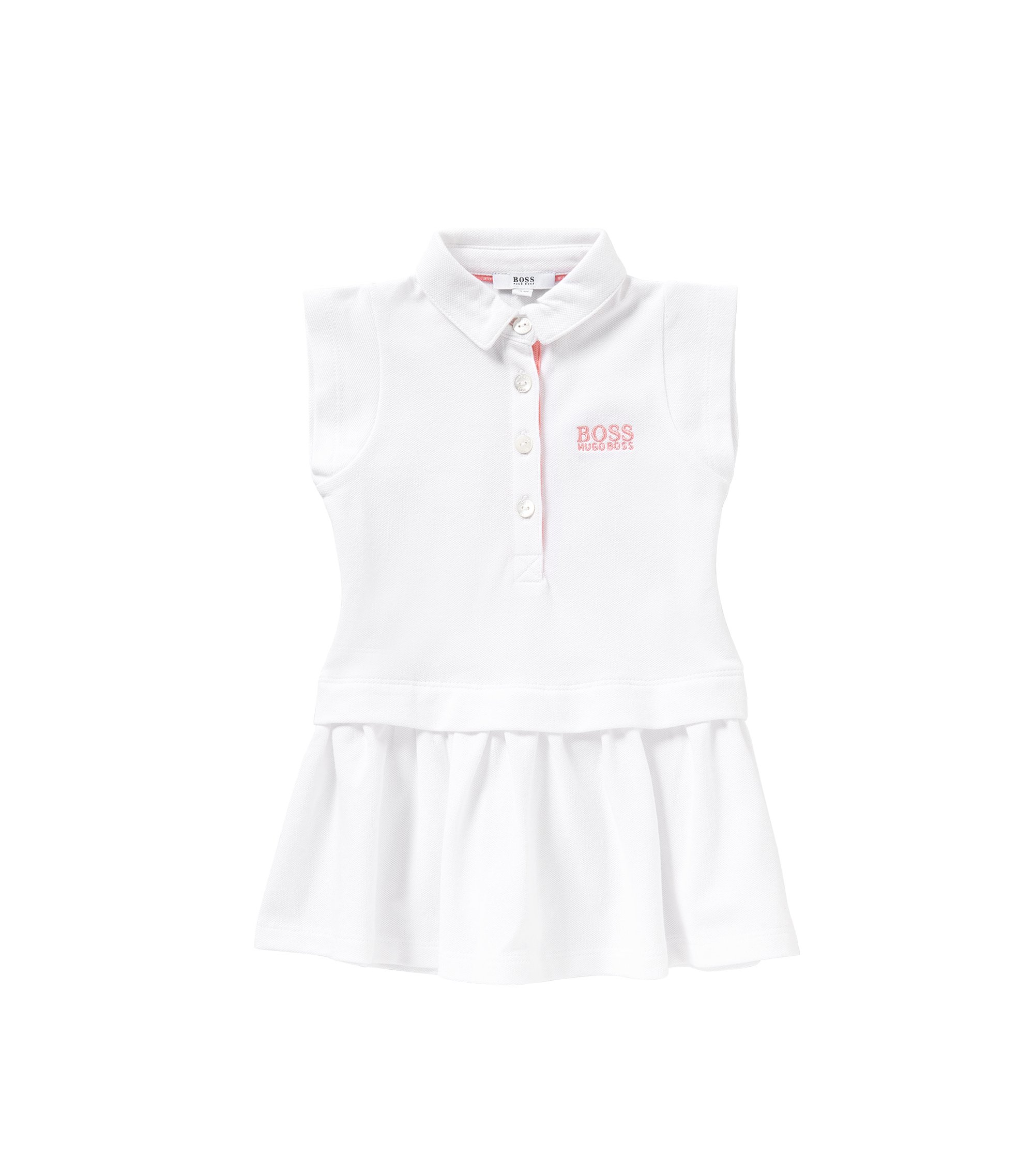 Kids' dress in stretch cotton in polo style: 'J02018', White