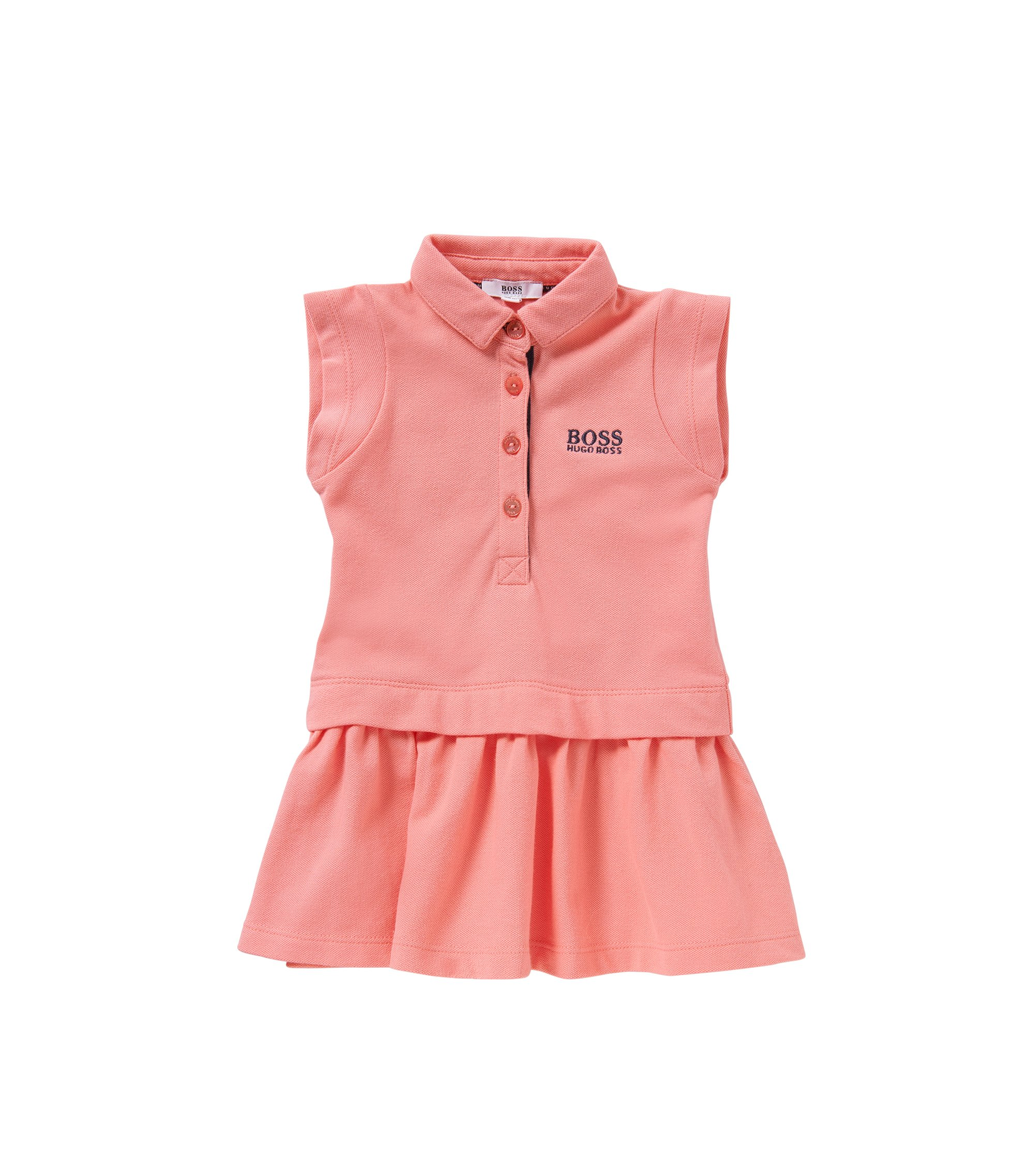 Kids' dress in stretch cotton in polo style: 'J02018', light pink