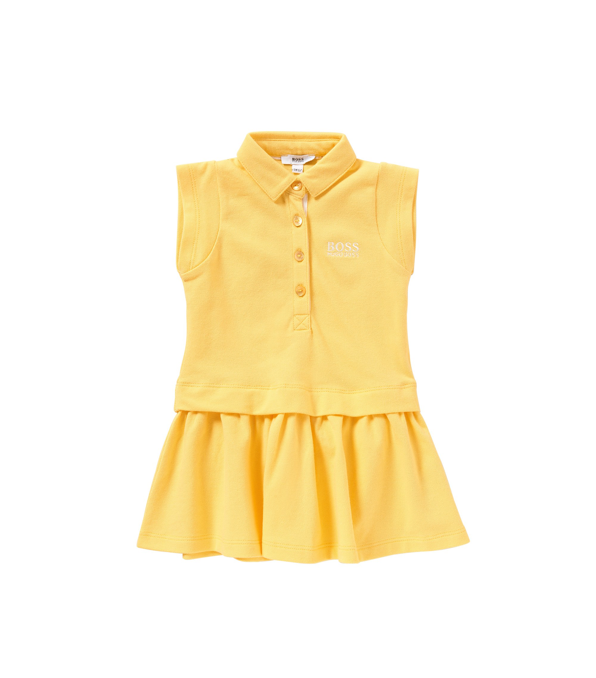 Kids' dress in stretch cotton in polo style: 'J02018', Yellow
