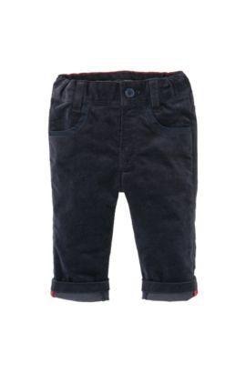 Pantalon en velours côtelé pour enfants «J04163» en coton mélangé, Bleu foncé