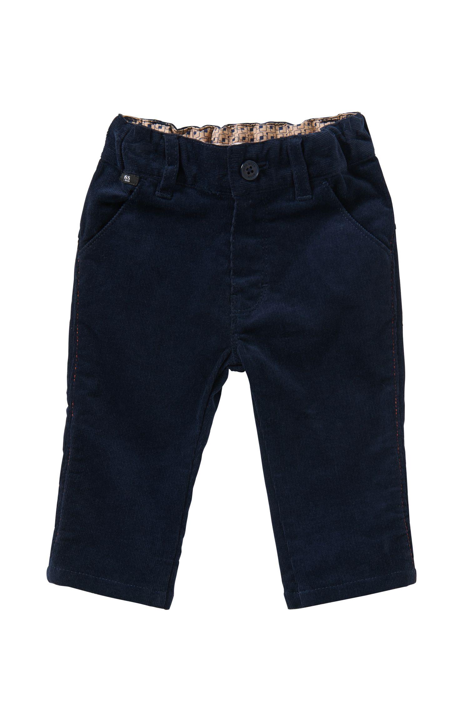 Pantalon en velours côtelé en coton extensible pour bébés: «J04199»