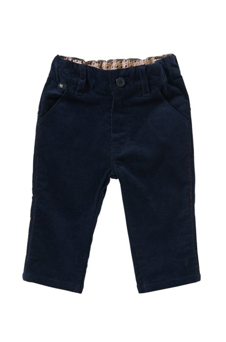 Newborn cord trousers in stretchy cotton: 'J04199', Dark Blue