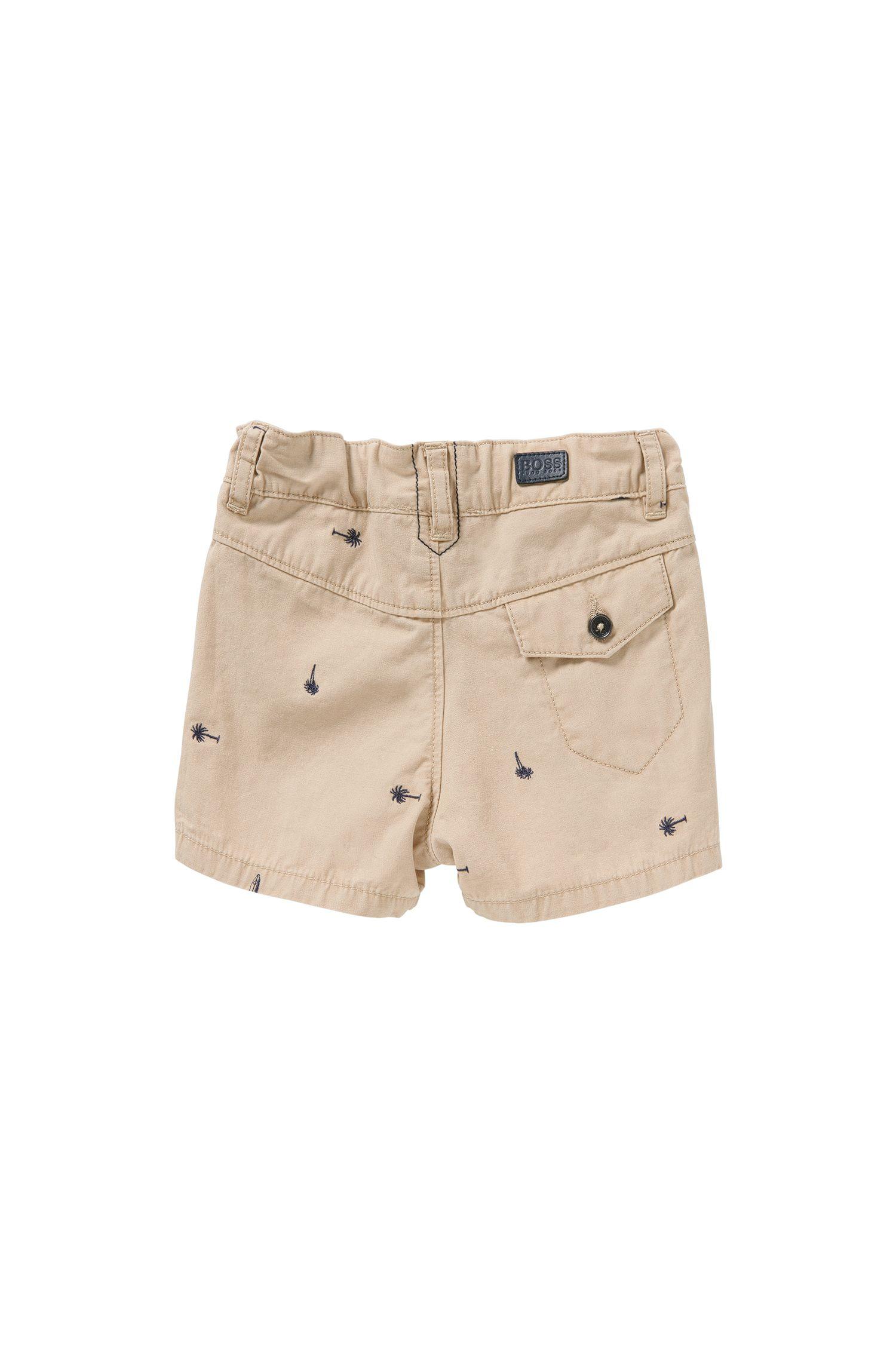 Pantaloncini corti da neonato in cotone con ricamo: 'J04219'