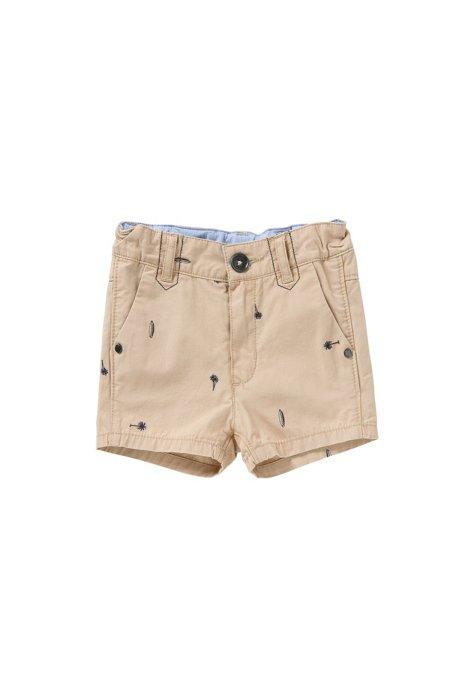 Shorts en algodón con bordados para bebé: 'J04219', Beige