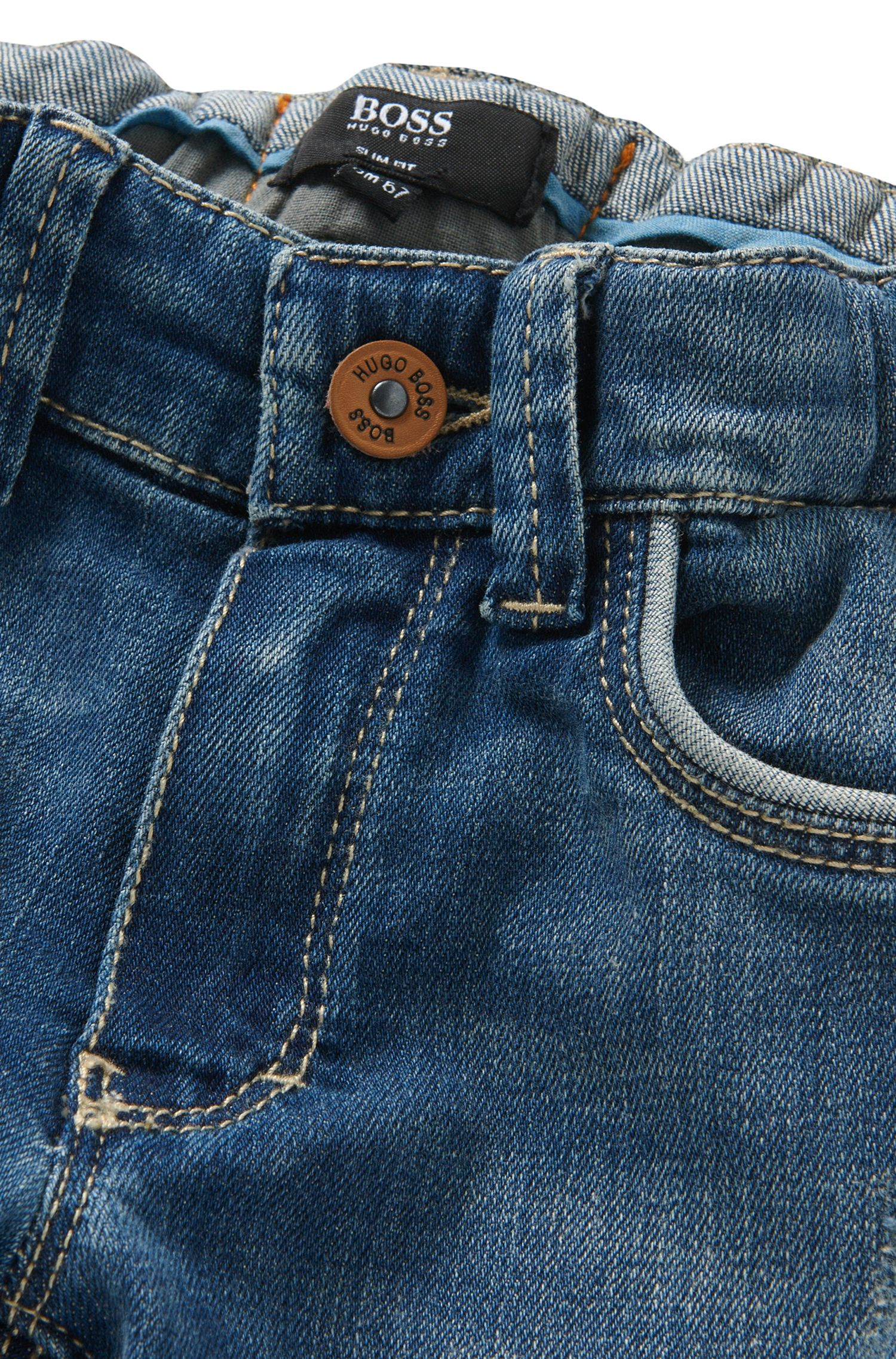 Slim-fit newborn's jeans in stretch cotton: 'Montana'