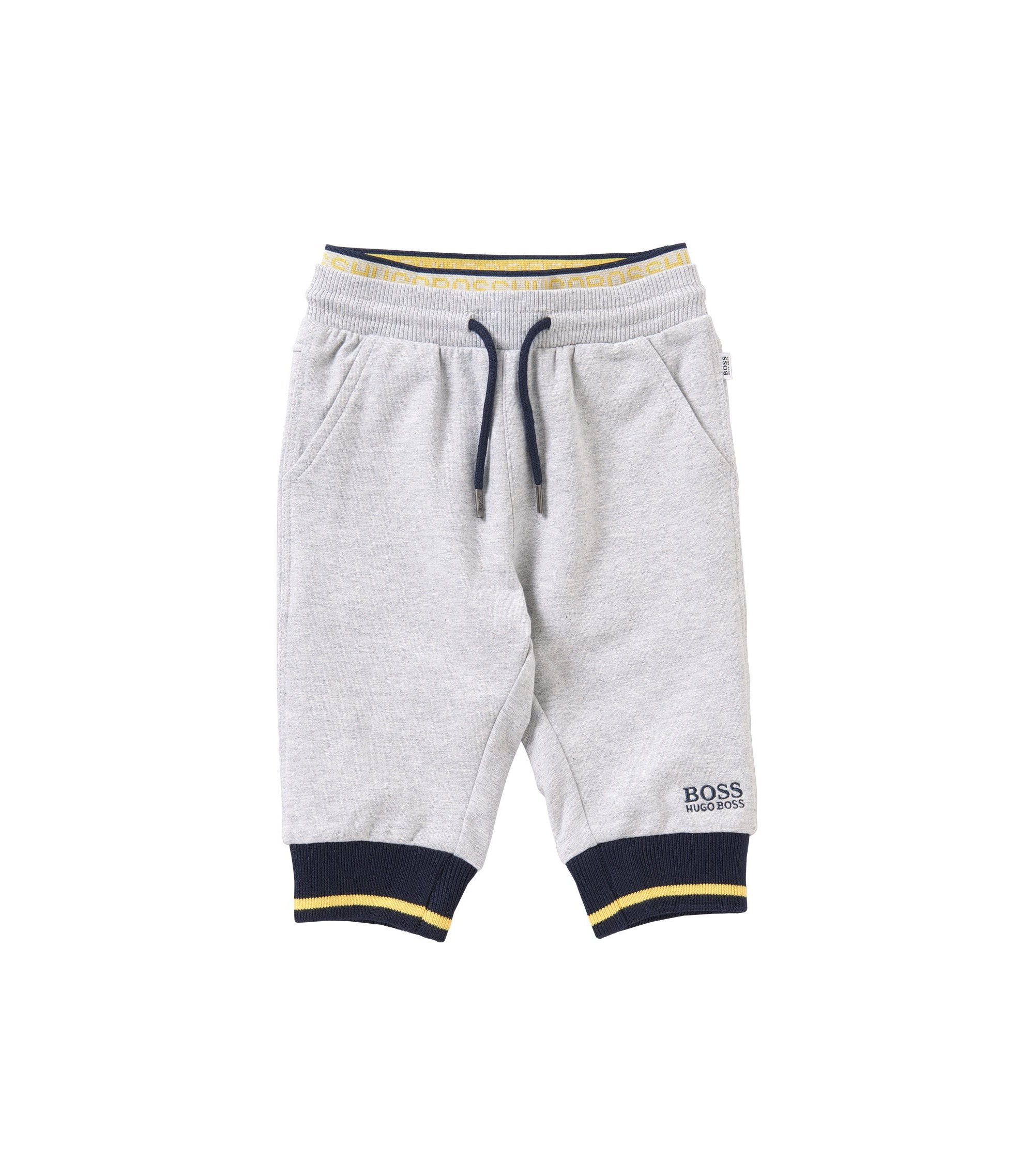 Pantalon molletonné pour bébé en coton extensible chiné: «J04224», Gris chiné