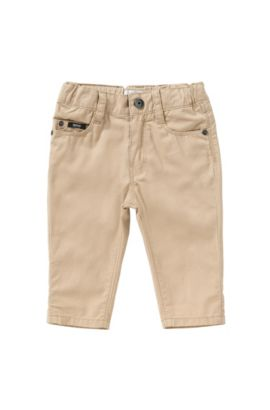 Regular-fit newborn's trousers made from cotton in 5-pocket style: 'J04225', Beige