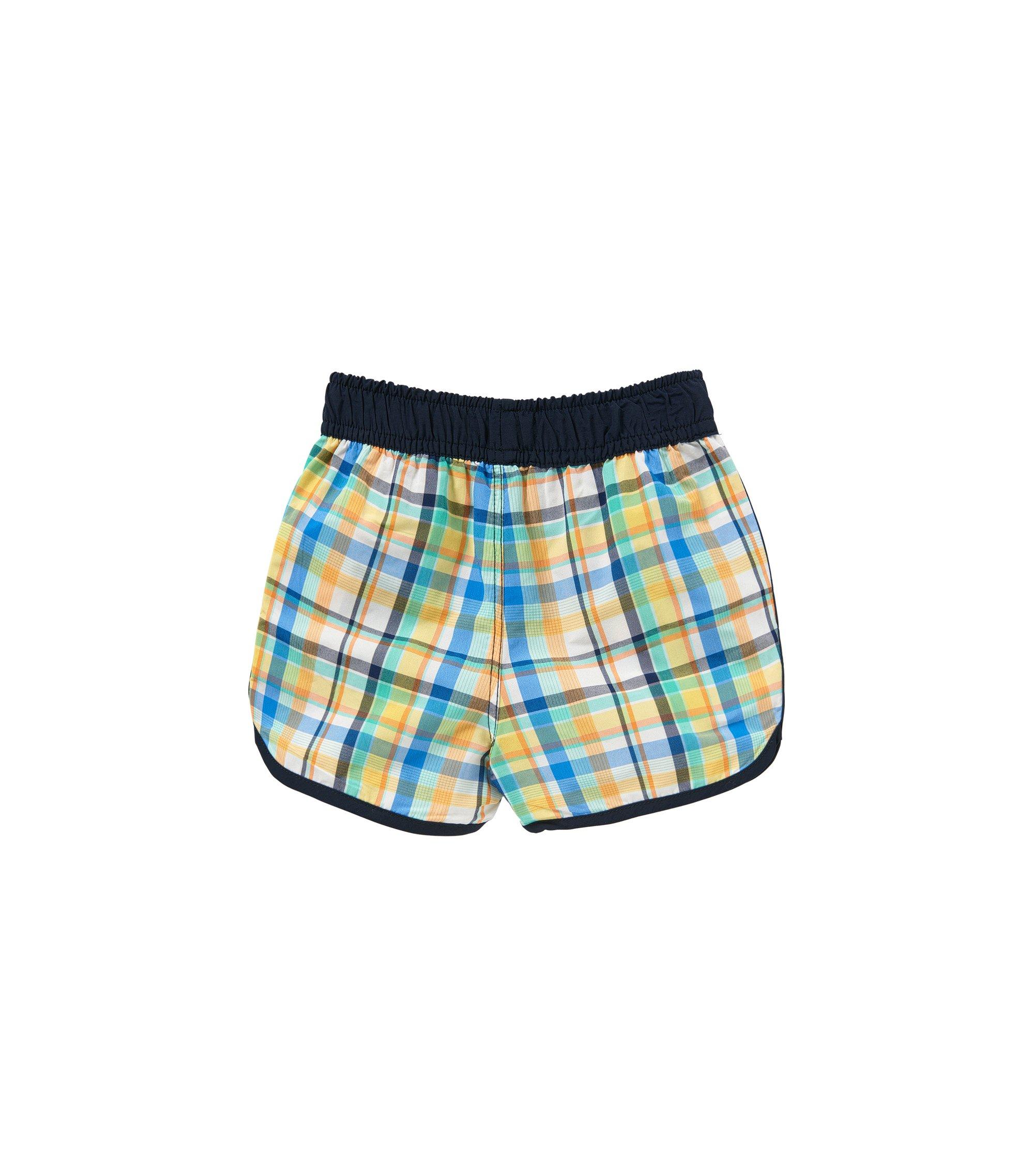 Bañador short a cuadros para bebé con cordón en la cintura: 'J04230', Verde