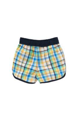 Checked newborns' swim shorts with drawstring waistband: 'J04230', Green