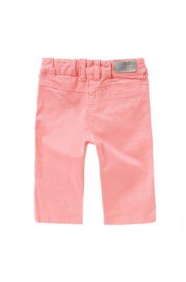 Pantalon pour bébé en coton stretch avec cordon à nouer décoratif: «J04232», Rose clair