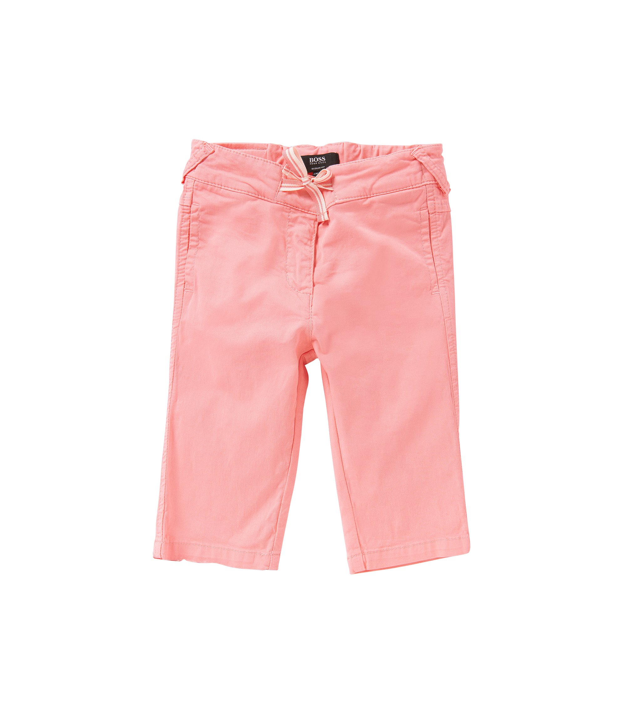 Newborns' trousers in stretch cotton with decorative tie: 'J04232', light pink