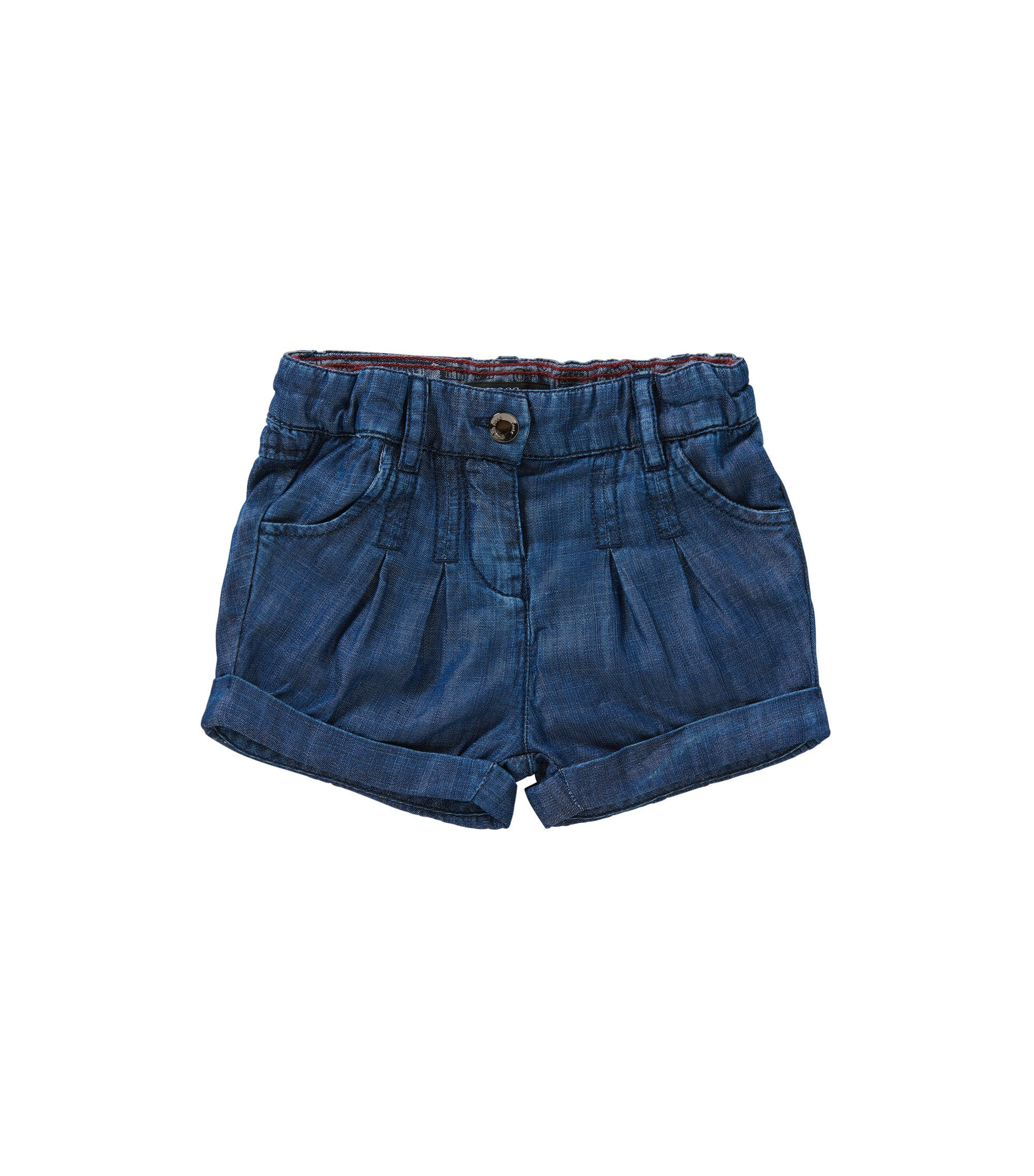 Regular-Fit Baby-Shorts in Denim-Optik mit Elastikbund: 'J04236', Gemustert