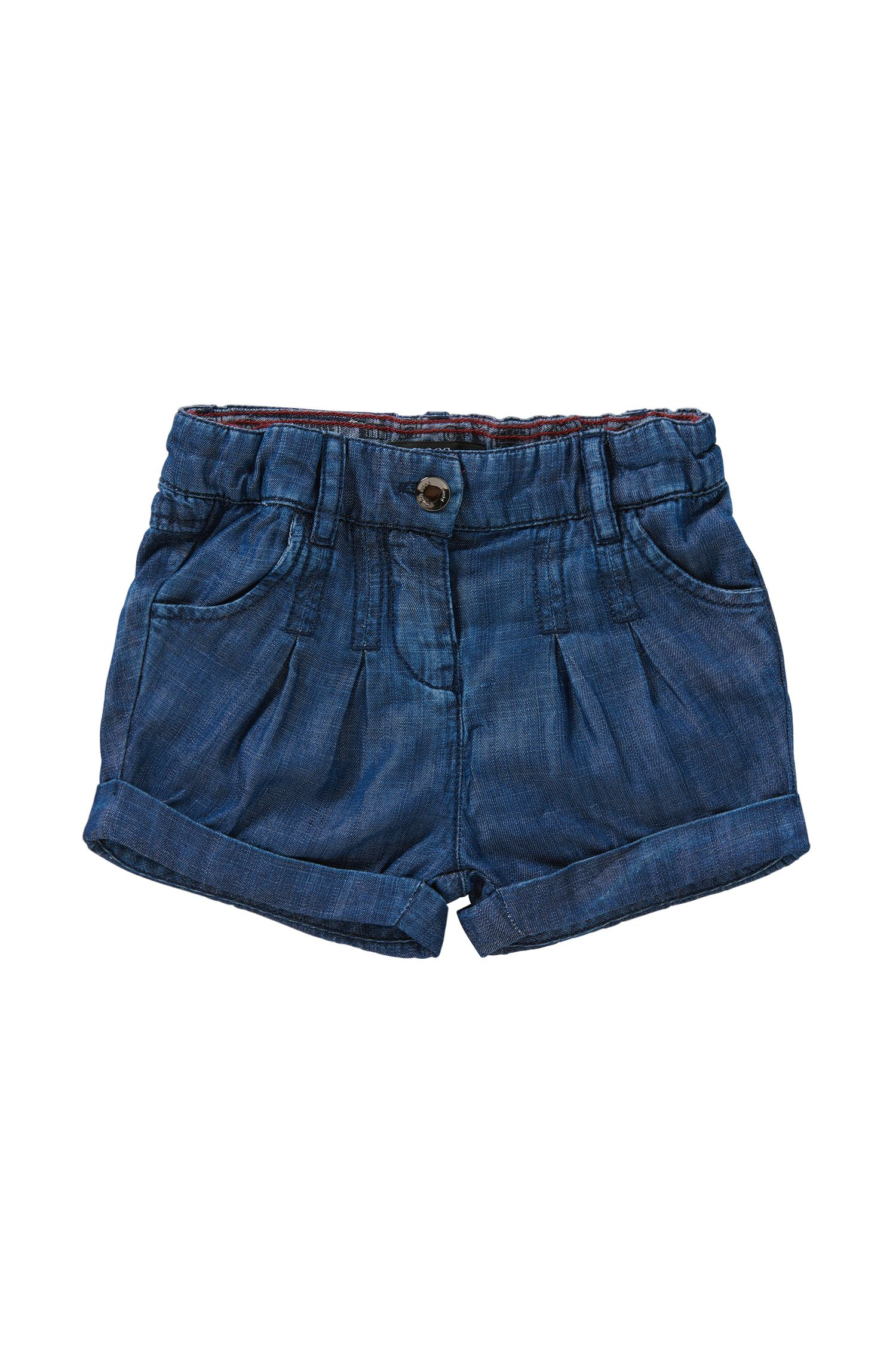 Regular-fit denim-look newborn's shorts with an elastic waistband: 'J04236'