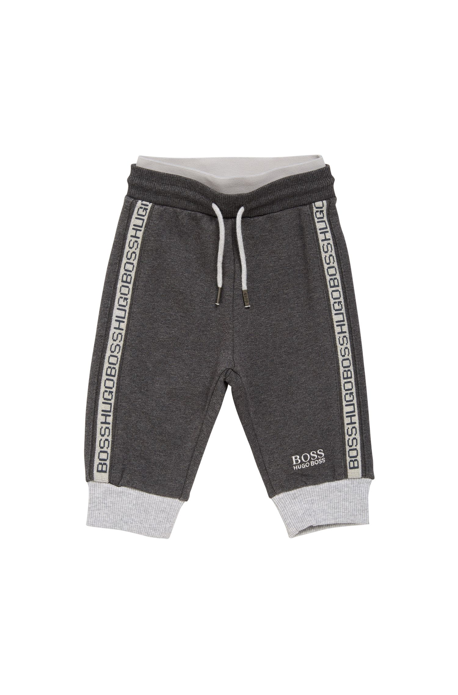 Newborn tracksuit bottoms in stretch cotton blend with a drawstring: 'J04244'