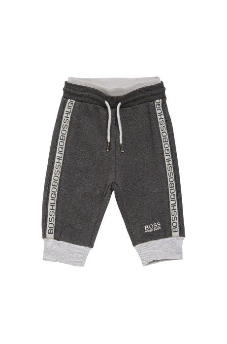 Pantaloni felpati da bambino in misto cotone elasticizzato con coulisse: 'J04244', Grigio scuro