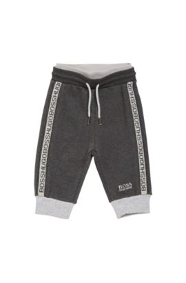 Kids' tracksuit bottoms in stretch cotton blend with a drawstring: 'J04244', Dark Grey