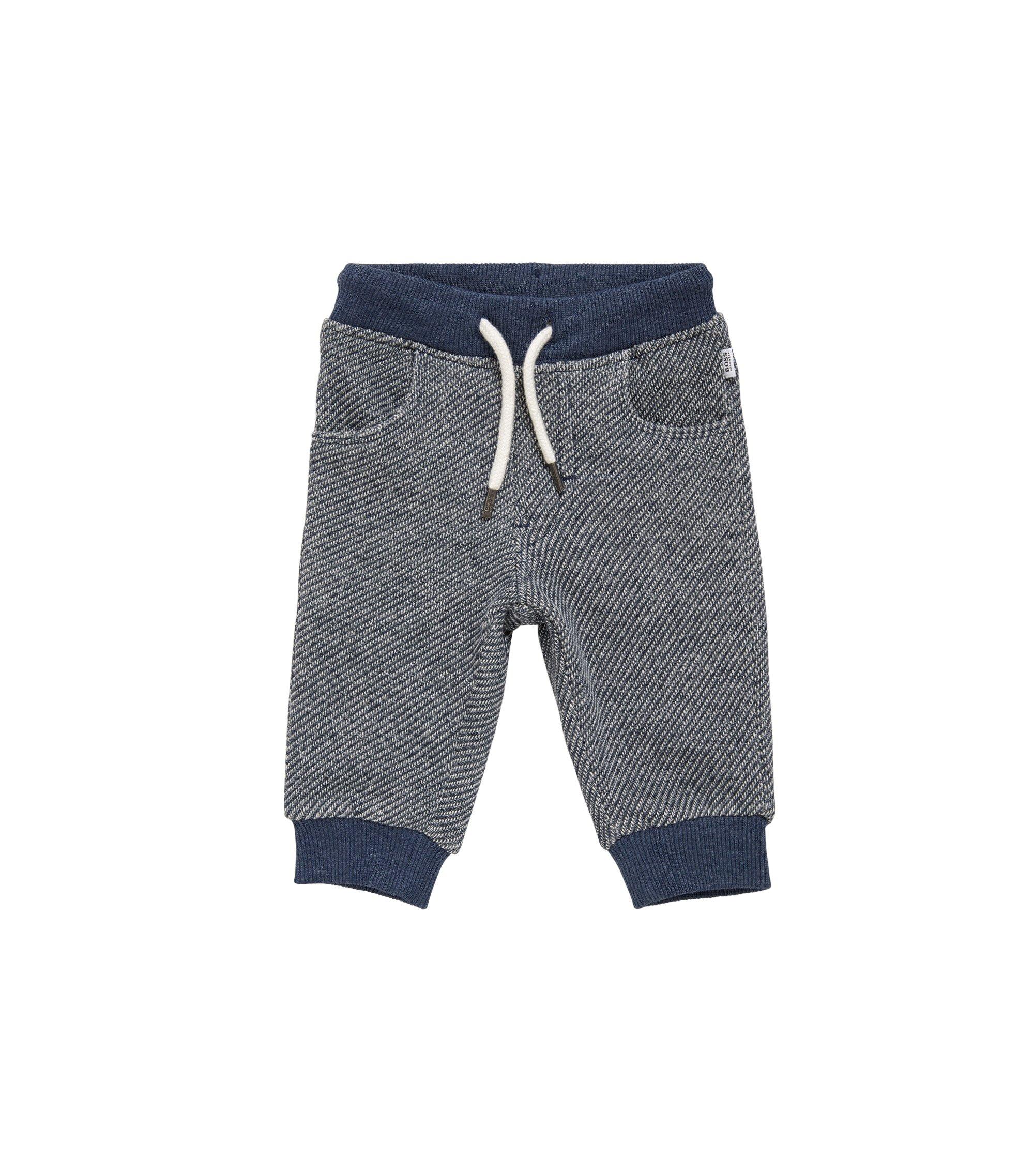 Pantaloni di felpa da bambino in cotone con cintura con coulisse: 'J04245', Blu scuro