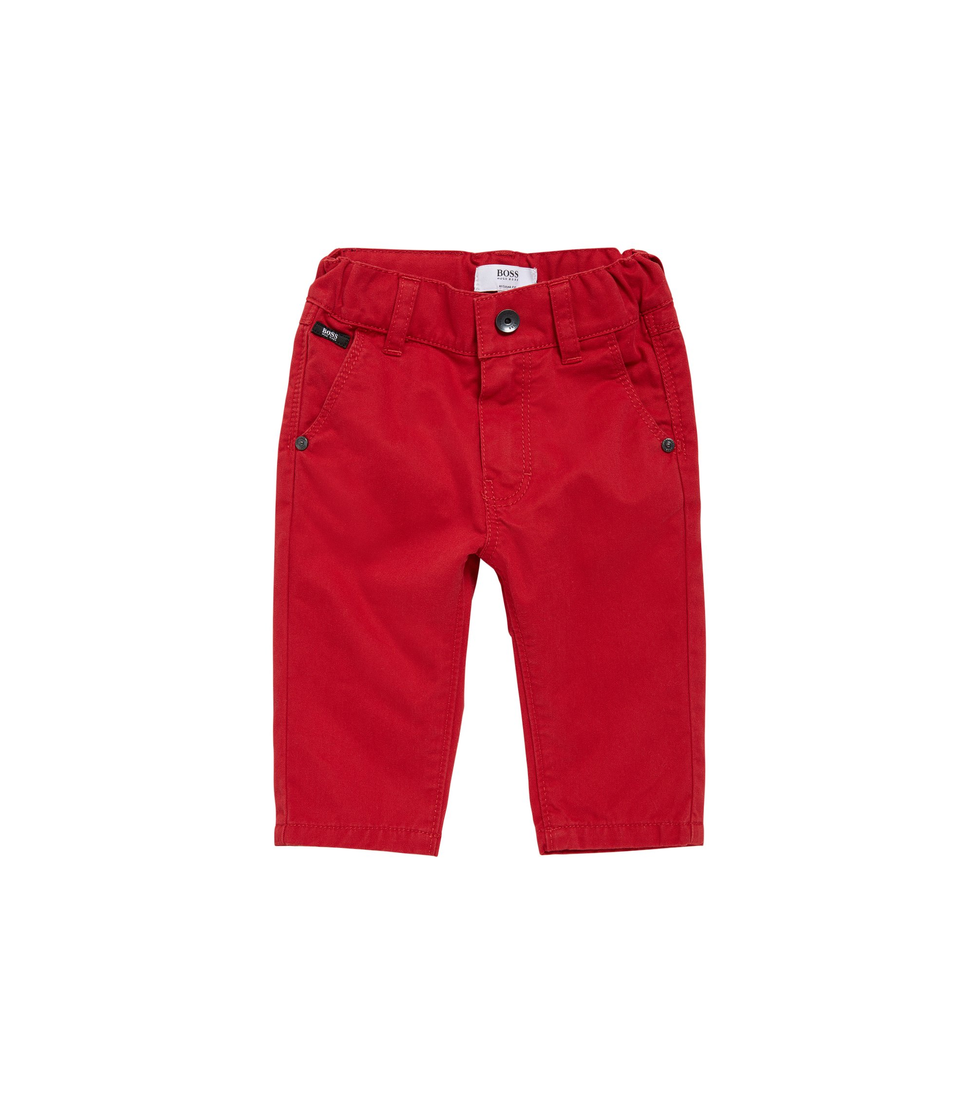 Regular-fit kids' cotton trousers: 'J04248', Red