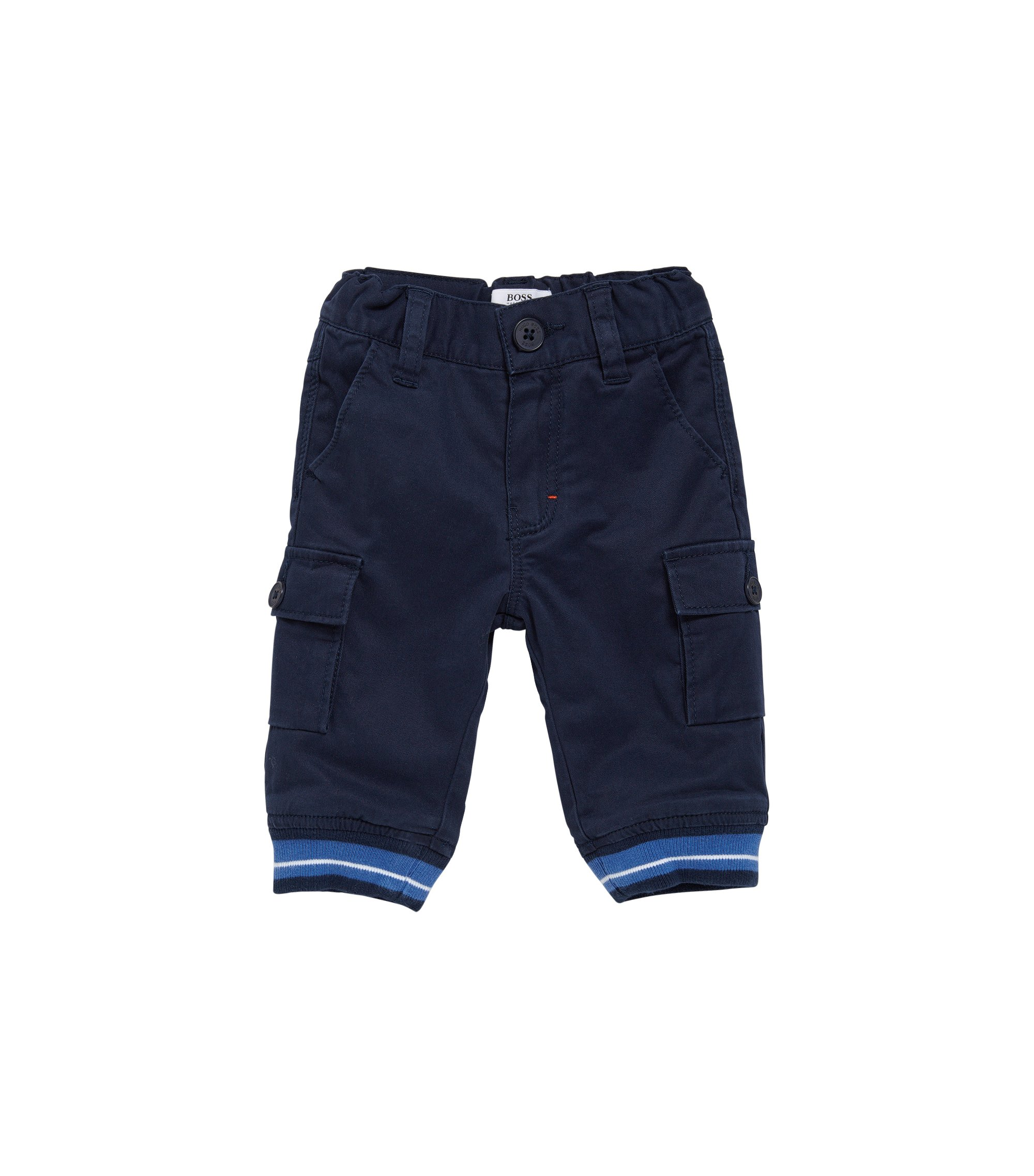 Kids' trousers in stretch cotton with ribbed ankle cuffs: 'J04251', Dark Blue