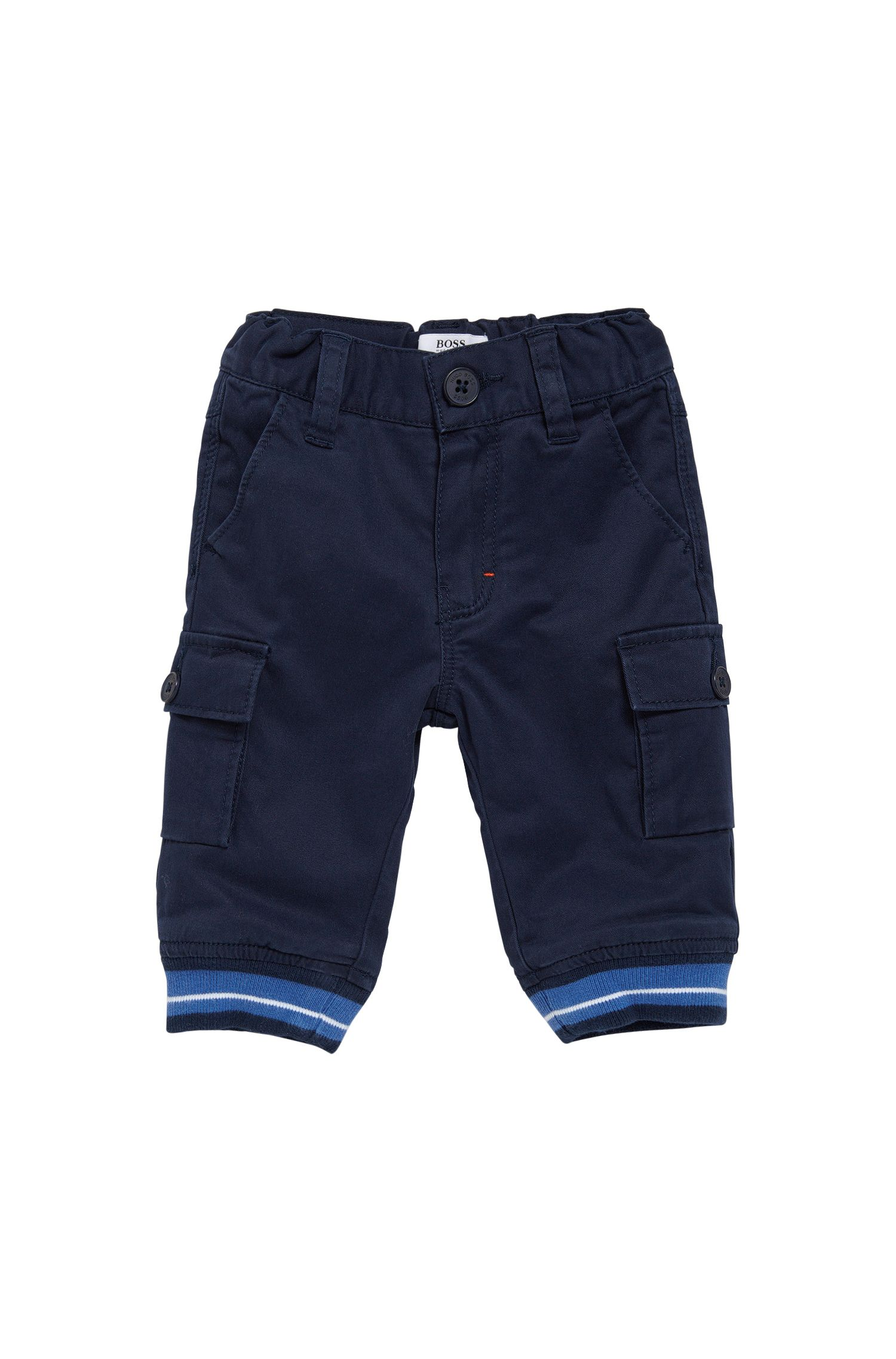 Pantalon pour enfant en coton stretch, avec bordures côtelées au bas des jambes: «J04251»
