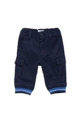 Kids-Hose aus Stretch-Baumwolle mit gerippten Beinabschlüssen: 'J04251', Dunkelblau