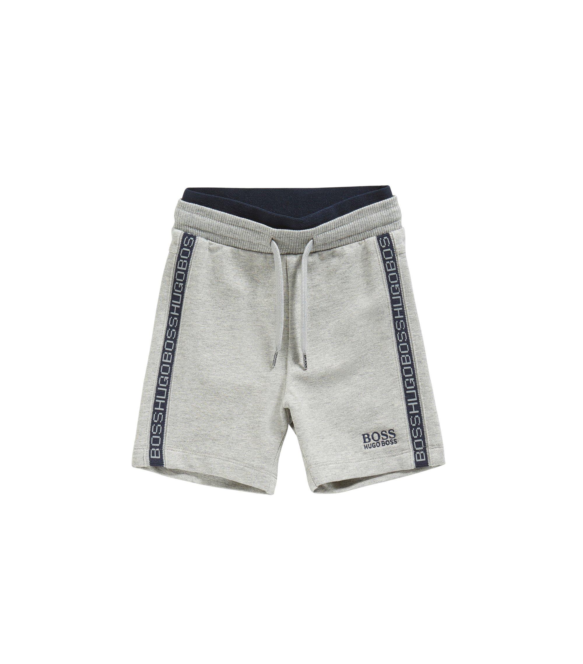 Pantalon molletonné pour bébé en coton stretch avec cordon de serrage: «J04257», Gris chiné